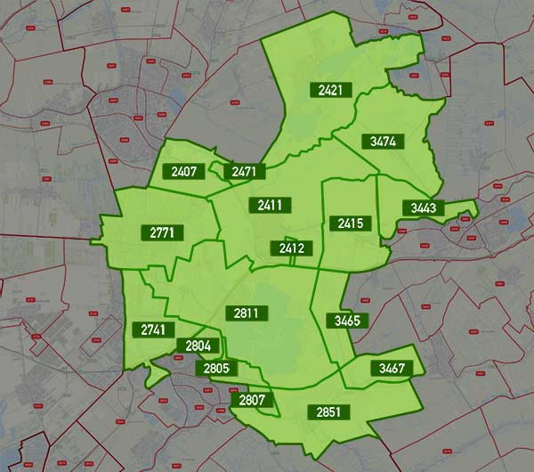 kaart van de postcodes die in aanmerking komen voor de levering van energie van de energiecoöperatie